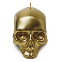 D.L. & CO MEDIUM SKULL CANDLE IN GOLD
