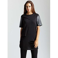 Sexy Side Cutout Faux Leather Sleeve Long Tunic T-Shirt Top