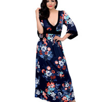 1970s Style Navy Floral Print Three-Quarter Sleeve Maxi Dress
