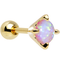 """16 Gauge 1/4"""" 5mm White Synthetic Opal Gold Plated Cartilage Earring   Body Candy Body Jewelry"""
