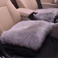 DONYUMMYJO Universal Car Seat Cover Pink winter Auto Wool Driver Seat Cushion Plush Seat Pad Wool Mat for home office Chair mat
