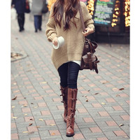 Lazy Style Hooded Loose Fit Oversized Long Sleeves Polyester Sweater For Women