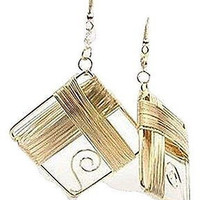"Basket Hill , Women's Gold Tone Square "" Gift"" Shaped Dangle Earrings"