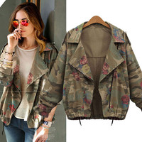 Plus Size Camouflage Long-Sleeve Notched Jacket