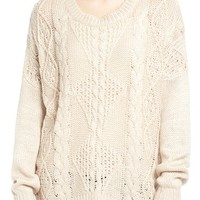 Dreamers by Debut Cable Front Sweater | Nordstrom