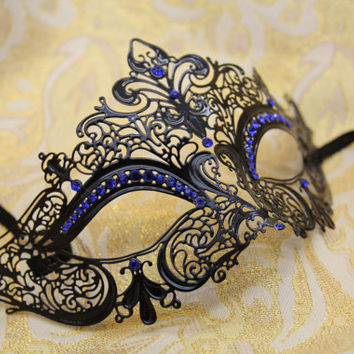 Mysterious Laser Cut Venetian Mardi Gras Masquerade Mask with Sparking Blue Rhinestones