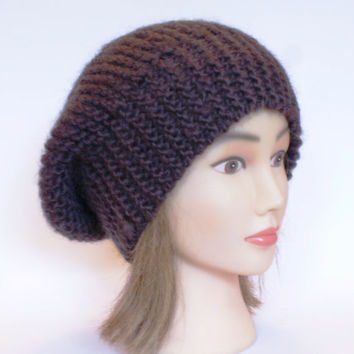 Beret style slouch hat Dark Brown slouchy beanies hats women knitted irish handknit