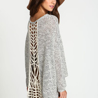 CUT OUT MARLED KNIT SWEATER TOP