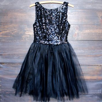 Sugar Plum Dazzling Sequin Darling Party Dress in Black