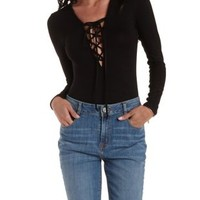 Black Lace-Up Plunging Bodysuit by Charlotte Russe