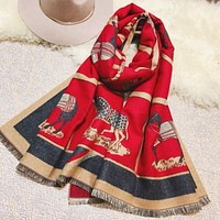 Hermes Classic Autumn Winter Women Warm Cashmere Scarf Shawl Silk Cape Scarf Scarves Red