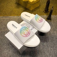 Versace new hot sale Medusa print couple casual slippers White