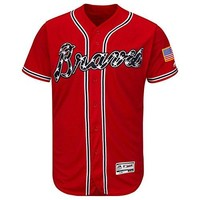 Men's Atlanta Braves Majestic Alternate Scarlet Flex Base Authentic Collection Team Jersey Exact Jersey worn by players-Onfield jersey