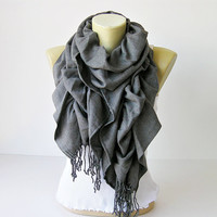 Ruffle scarf  Pashmina fabric scarf in grey   CHOOSE by SenasShop
