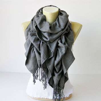 Ruffle scarf  ,Pashmina fabric scarf in grey  - CHOOSE YOUR COLOR