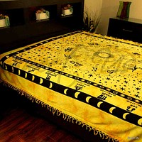 Cotton Astrological Zodiac Symbol Wall Tapestry Bedspread Full Bed sheets Gold