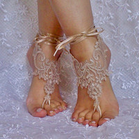 Tan Barefoot Sandals  french lace Nude shoes yoga anklet bangle zen boho bohemian modern nude shoe one finger shoe