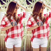 2016 New Fashion Casual Plaid Shirt Women Loose Long Blouse Check Shirt Leisure Red And White Women Casual Shirt Spring Autumn