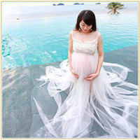 2016 New White Maternity Gown Shoot Long Lace Soft Dresses Photo Session Pregnant Photography Props vestido longo maternidade