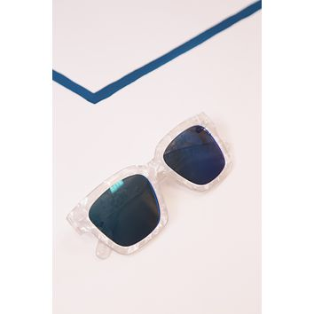 White Marble Frame Sunglasses, White/Blue
