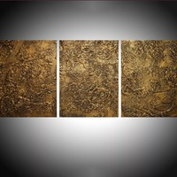 "ARTFINDER: triptych 3 panel wall art ""Golden Ecstacy "" antique impasto effect 3 panel metallic gold effect on canvas wall abstract 54 x 24"" by Stuart Wright - "" Golden Ecstasy ""  extra large triptych impast..."