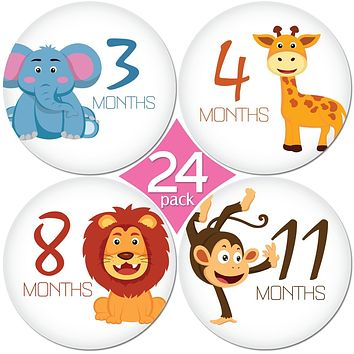 24 Pack of Premium Baby Monthly Stickers by KiddosArt. 1 Happy Animal Sticker Per Month of Your Baby's First Year Growth and Holidays. Month Sticker for Baby, Boy or Girl. Milestone Onesuit Stickers Happy Animals