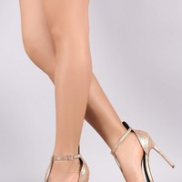 Metallic Textured Open Toe T-Strap Stiletto Heel