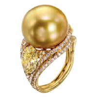 Very Deep Golden South Sea Pearl and Fancy Yellow Diamond Ring