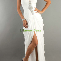 whith chiffon prom dress with Rhinestone / unique long dress for homecoming party / cheap beaded holiday gowns with train / evening dresses