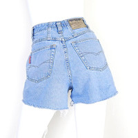 Size 4 High Waisted Denim Cutoff Shorts - 80s 90s Vintage - Stone Washed Women's Frayed All Cotton Jean Shorts - Union Bay