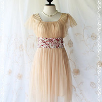 Honey Party - Sweet Gorgeous Party Cocktail Wedding Bridesmaid Dress Light Brown Color Tutu Net Gauze Fabric With Floral Lace Embroidered S