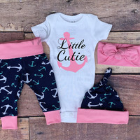 Baby Girls Coming home Outfit,Little Cutie,Navy Blue,Pink,Mint Green,Fishing Outfit,Baby Girl,Girls Anchors,leggings,hat,Headband