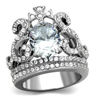 Crown Tiara 4CT CZ Oval Cut Stainless Steel Ring
