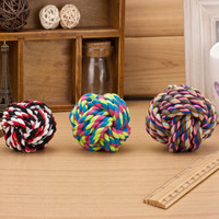 Pets Rope Ball Toys Bite Ball Colorful Squeak Toys Dog Wool Ball Toys 3 Size Pet Puppy Chew Toys