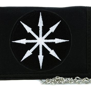 White Chaos Star Symbol of Eight Arrows Tri-fold Wallet with Chain Occult Clothing