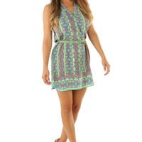 Down For The Count Dress: Green/Multi