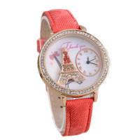 Womens Eiffel Tower Denimr Strap Leopard Print Watch Girls Sports Casual Watches Best Christmas Gift