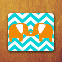 Twin Elephant Cartoon Mouse Pad Abstract Blue Chevron Animal Lover Valentine's Day Accessory For Desk Office Personalized Office Pad Mat
