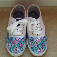 """Hand Painted Lilly Pulitzer Inspired Shoes """"Crown Jewels"""""""