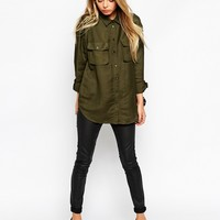 ASOS TALL Military Shirt With Pockets