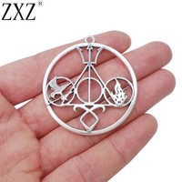 ZXZ 5pcs Antique Silver Hunger Games Divergent Shadowhunter Inspired Fandom Charms Pendants for Jewelry Making Findings