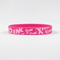 Pink Ribbon Pattern Motivational Wristband
