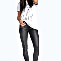 Kaley Wet Look Lace Detail Skinny Trousers