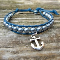 Beaded Leather Single Wrap Charm Bracelet with Gray Pearl Polished Czech Glass Beads on Nautical Navy Blue Leather with Silver Anchor Charm