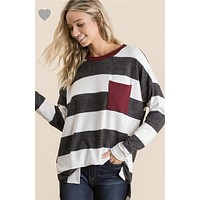 Gray/Maroon striped Top
