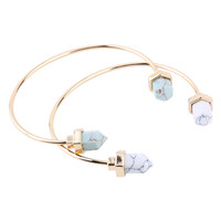 Gold Plated Turquoise Bullet Healing Point Natural Stone Cuff Bangle Faux Marble White Howlite Bracelet Bangle Women
