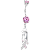 925 Sterling Silver Pink Cubic Zirconia Ribbon Chandelier Belly Ring | Body Candy Body Jewelry