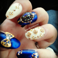 Baroque Elegance 3d false fake nail art with Swarovski and glass fire opal