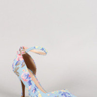 Qupid Floral Ankle Strap Pointy Toe Dorsay Pump