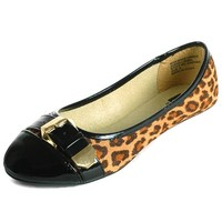 Womens Ballet Flat Micro Suede Cheetah Shoe Faux Patent Leather Round Toe Buckle